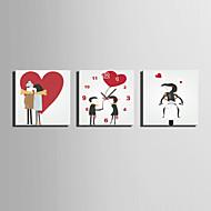 Moderni/nykyaikainen Cartoon Seinäkello,Neliö Kanvas 25 x 25cm(10inchx10inch)x3pcs Sisällä Kello