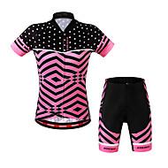 WOSAWE 女性用 半袖 ショーツ付きサイクリングジャージー - レッド バイク ショートパンツ ジャージー 洋服セット, 3Dパッド, 高通気性, 夏, ポリエステル スパンデックス