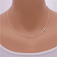 Women's Pendant Necklace Sterling Silver Silver Cross Dainty Ladies Sideways Silver Golden Necklace Jewelry For Party Daily Casual Sports