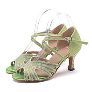 baratos Sapatilhas de Dança-Mulheres Sapatos de Dança Latina Glitter Sandália / Salto Pedrarias / Gliter com Brilho / Presilha Salto Carretel Personalizável Sapatos de Dança Rosa claro / Dourado / Verde Claro / Espetáculo