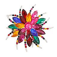 hesapli -Kadın's Broşlar Kristal Kişiselleştirilmiş Renkli Moda Kristaller/Yapay Elmaslar Çiçek Açık Mavi Gökküşağı Beyaz/Beyaz Çeşitli Renk
