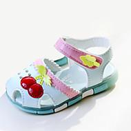 女の子 靴 PUレザー 夏 サンダル リボン 用途 カジュアル ホワイト ブルー ピンク