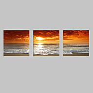 cheap Prints-VISUAL STAR®3pcs Sunset Canvas Print For Home Decoration Seascape Beach Modern Painting Wall Art Picture Print on Canvas
