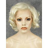 Kvinder Syntetiske parykker Blonde Front Kort Krøllet Blond Natural Hairline Side del Cosplay Paryk Halloween Paryk Carnival Paryk