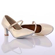 baratos Sapatilhas de Dança-Mulheres Sapatos de Dança Latina / Tênis de Dança Couro Salto Presilha Salto Cubano Personalizável Sapatos de Dança Prata / Creme /