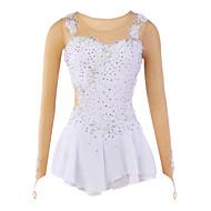 Artistik Patinaj Elbiseleri Kadın's Genç Kız Łyżwiarstwo Elbiseler Beyaz Splandeks Dantelalar Taşlı Aplik Çiçek(ler) Yüksek Elastikiyet