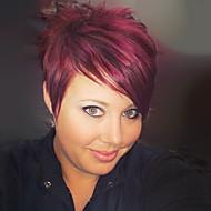 Femme Perruques capless à cheveux humains Noir de jais Auburn Bourgogne Court Raide Coupe Lutin Avec Frange Partie latérale