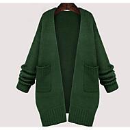 Dámské Jednoduché Běžné/Denní / Velké velikosti Standardní Kardigan Jednobarevné,Zelená Dlouhý rukáv Kulatý Bavlna Zima StředníLehce