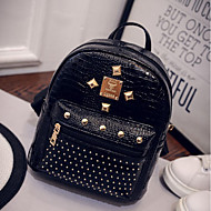 Women Bags PU leatherette Backpack Zipper for Casual Fall Gold Black Silver