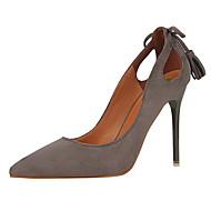 cheap Women's Heels-Women's Heels Winter Comfort Suede Dress Stiletto Heel Bowknot Black / Pink / Red / Gray / Orange / Khaki Walking