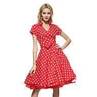 Damen Übergrössen Arbeit Retro Baumwolle Swing Kleid - Druck, Punkt Knielang Hemdkragen Rot