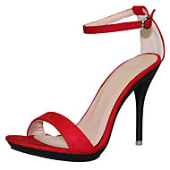 cheap Women's Sandals-Women's Shoes Fabric Summer T-Strap Sandals Stiletto Heel Open Toe Buckle Blue / Camel / Almond / Party & Evening / Party & Evening