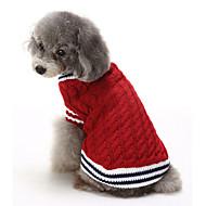 ネコ 犬 セーター 犬用ウェア コットン 冬 カジュアル/普段着 保温 クリスマス カラーブロック レッド ブルー ペット用