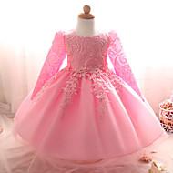 Pigens Kjole I-byen-tøj Ensfarvet, Polyester Sommer Langærmet Rosette Hvid Lilla Rød Lys pink