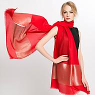Damer Vintage / Kontor / Casual Silke Halstørklæde-Ensfarvet Rektangulær Rød / Sort / Orange