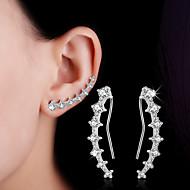 Γυναικεία Κρυστάλλινο Συνθετικό Diamond Κουμπωτά Σκουλαρίκια Σκουλαρίκια με Κλιπ Ορειβάτες των αυτιών Ασήμι Στερλίνας Σκουλαρίκια Leaf Shape Καρδιά Λουλούδι