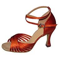billige Sko til latindans-Dame Latin Jazz Swingsko Salsa Sateng Sandaler Høye hæler Innendørs Ytelse utendørs Profesjonell Nybegynner Trening Spenne Kustomisert hæl