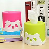 צורת פלסטיק גלילי רקמת תיבת רקמות נייר חמודה פנדה מפית (בצבעים אקראיים)
