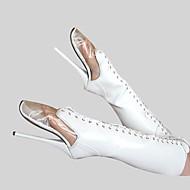 tanie Obuwie damskie-Damskie Seksowne buty PU Zima Modne obuwie Botki Szpilka Okrągły Toe Zamek / Sznurowane Biały / Impreza / bankiet