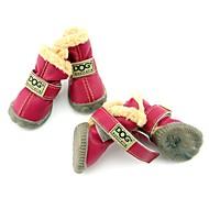 Câine Pantofi & Cizme Cizme de Zăpadă Keep Warm Impermeabil Modă Solid Maro Rosu Albastru Roșu Vin Verde Închis Pentru animale de companie