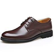 tanie Small Size Shoes-Męskie Skóra Wiosna / Lato / Jesień Wygoda Oksfordki Gruby obcas Szurowane Czarny / brązowy