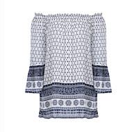 Langærmet Skulderfri Medium Dame Hvid Paisley Alle årstider Vintage / Simpel I-byen-tøj / Casual/hverdag T-shirt,Polyester