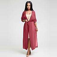 Feminino Casaco Trench Casual Simples / Moda de Rua Primavera / Outono,Sólido Vermelho / Preto / Verde Poliéster Colarinho de Camisa-