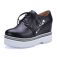 cheap Women's Sneakers-Women's Shoes Patent Leather Leatherette Spring Summer Fall Comfort Novelty Heels Walking Shoes Platform Wedge Heel Round Toe Lace-up for