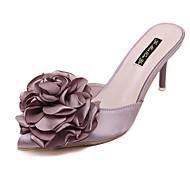 tanie Obuwie damskie-Damskie Obuwie Jedwab Lato Bez pięty Chodaki i klapki Szpilka Pointed Toe Satynowy kwiatek na Casual Gray Różowy