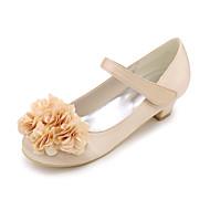 baratos Sapatos de Menina-Para Meninas Sapatos Cetim Verão Sapatos para Daminhas de Honra Saltos Apliques / Velcro para Azul / Champanhe / Ivory / Casamento / Festas & Noite