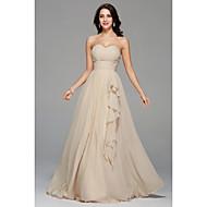a-linje kæreste gulvlængde chiffon brudepige kjole med drapering side drapering af myf
