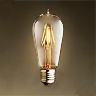 4W E26/E27 フィラメントタイプLED電球 ST58 4 LED COB 装飾用 温白色 300-350lm 2300K 交流220から240V