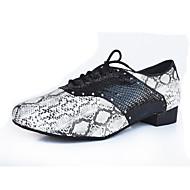 cheap Latin Shoes-Men's Latin PU Leatherette Heel Indoor Splicing Flat Heel Gray Customizable