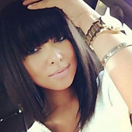Cute Bob Style 12inch Natural Color Natural Straight Bangs Human Hair Capless Wigs