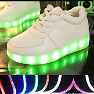 ユニセックス-アウトドア アスレチック カジュアル-PUレザー-フラットヒール-コンフォートシューズ 幼児用靴 アンクルストラップ 靴を点灯-スニーカー-ブラック ホワイト