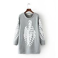 Dame Plusstørrelser Basale Sweatshirt - Farveblok, Trykt mønster / Efterår