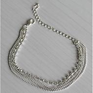 女性 アンクレット/ブレスレット 銀メッキ イミテーションダイヤモンド ファッション 欧風 多層式 コスチュームジュエリー ジュエリー 用途 日常 カジュアル