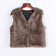 Women's Casual/Daily Simple Fur Coat,Solid / Rainbow V Neck Sleeveless Fall White / Black / Brown /