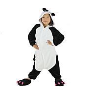 Kigurumi Pijama Panda Tulum Pijamalar Kostüm Polar Kumaş Siyah Cosplay İçin Çocuk Hayvan Sleepwear Karikatür cadılar bayramı Festival /