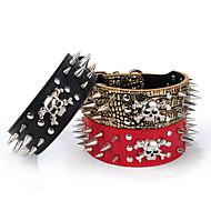 חתולים / כלבים קולרים חוזרמתכווננת / מכופתרים עצם / סלעים / מוסיקה Red / Black / Gold PU עור