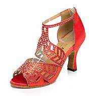 billige Salsasko-Dame Sko til latindans / Jazz-sko / Dansesko Læder Sneaker udendørs / Træning Kraftige Hæle Kan tilpasses Dansesko Sort / Rød / Hudfarve