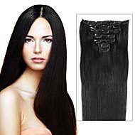 Febay Mit Clip Haarverlängerungen Glatt Cabello Natural Remy Echthaar Brasilianisches Haar Aschbraun