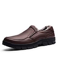 Herre-Lær-Flat hæl-Komfort-一脚蹬鞋、懒人鞋-Fritid-Svart Brun