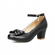 baratos Liquidação de Sapatos-Feminino-Saltos-Conforto Inovador-Salto Grosso-Preto Vermelho Branco-Couro Envernizado Courino-Casamento Escritório & Trabalho Social