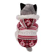Χαμηλού Κόστους Χριστουγεννιάτικα κοστούμια για κατοικ-Σκύλος Παλτά Φούτερ με Κουκούλα Ρούχα για σκύλους Χιονονιφάδα Καφέ Κόκκινο Βαμβάκι Στολές Για κατοικίδια Ανδρικά Γυναικεία Διπλής Όψης