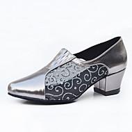 billige Moderne sko-Dame Latin Jazz Dansesko Moderne Kunstlær Joggesko utendørs Trening Tykk hæl Gull Sølv Grå Kan spesialtilpasses