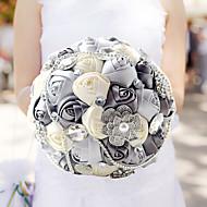 baratos Bouquets de Noiva-Bouquets de Noiva Buquês Casamento Aniversário Festa / Noite Tafetá Elastano Miçangas Renda Strass Poliéster Cetim Espuma