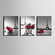 billiga Väggkonst-Landskap Europeisk Stil, Tre paneler Duk Vertikal Tryck väggdekor Hem-dekoration