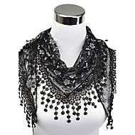 Women's Work Lace Rectangle Scarf - Floral Cut Out / Tassel / Fabric
