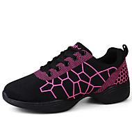 "Women's Latin Jazz Dance Sneakers Leather Sneaker Practice Outdoor Performance Flat Heel White Black 4"" & Up Non Customizable"